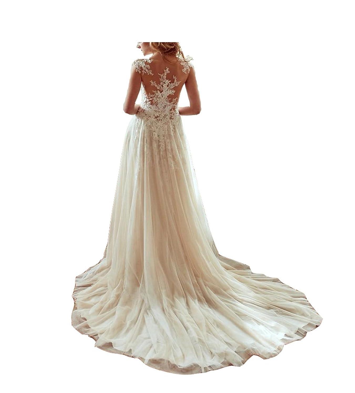 GBWD Womens Wedding Dresses Elegant Beads Lace Applique A-Line Wedding Bridal Gowns Vestidos De novia at Amazon Womens Clothing store: