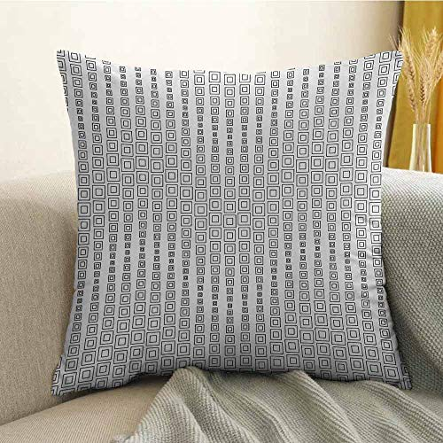Microfiber Sofa Cushion Cover Bedroom car Decoration Minimalist Inner Squares Forming Fractal Figures Quadrate Abstract Geometric Design W16 x L16 Inch Grey White