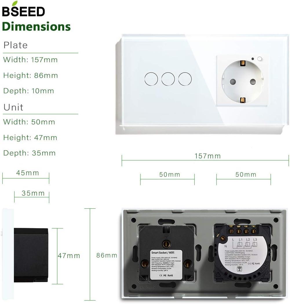 // SMART LIFE//TUYA APP Wall Light Outlets Gold BSEED WIFI 1 Fach 1 Weg Touch Switch y EU Socket Soporte Google Home//Alexa
