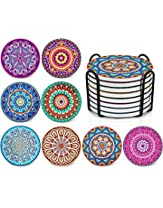Drink Coasters Set,Absorbing Stone Mandala Coasters for Drinks by ALUNME - Cork Base, with Holder, Unique Present for Friends, Men, Women, Funny Birthday Housewarming Gifts, Apartment Kitchen Room Bar Decor, Set of 8
