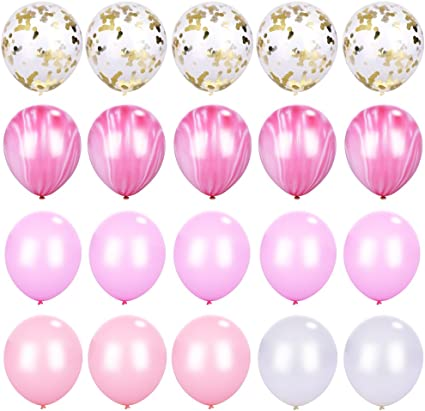 "stars 12/""  Pink Assortment Latex Balloons pack of 6 number 7"