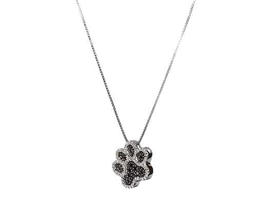 Amazon sterling silver black and white diamond dog paw amazon sterling silver black and white diamond dog paw pendant necklace 110 cttw 18 necklace set jewelry aloadofball Gallery