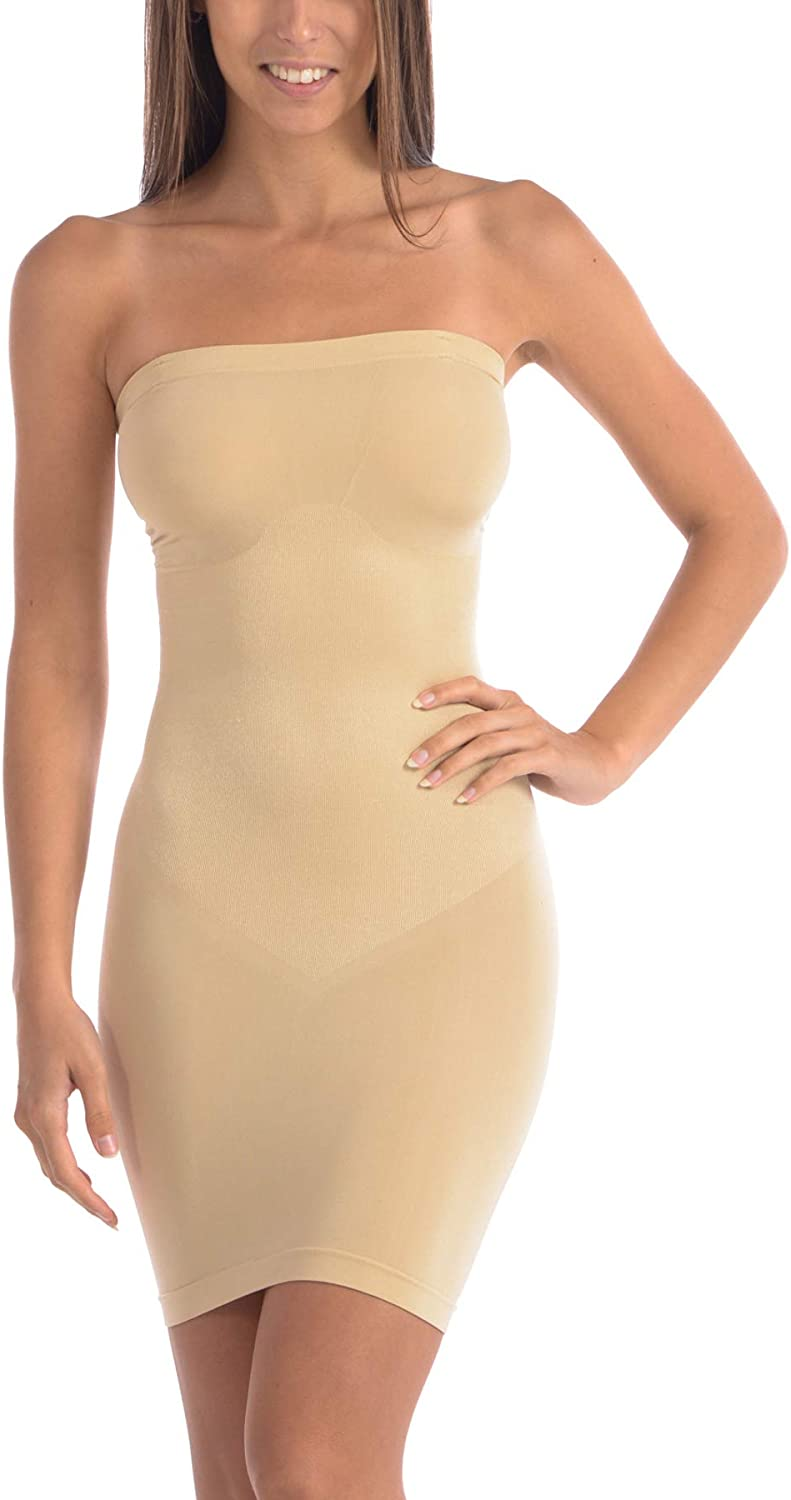 Body Beautiful Strapless Full Body Slip Shaper in Shiny Yarn at  Women's Clothing store