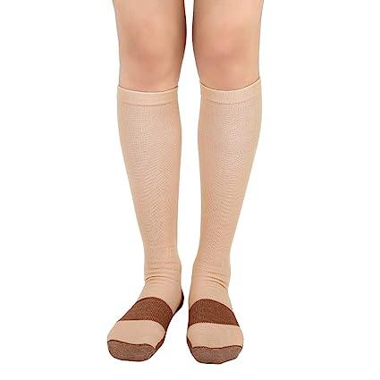 cc0101b3f0 TASOM 1 Pair Beige/Gold Lg/XL Compression Copper Socks Over The Calf Below