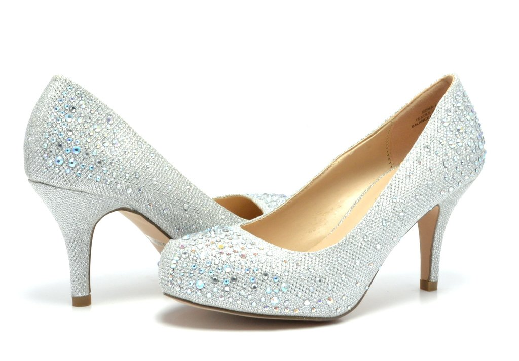DREAM PAIRS ROMA-1 Women's Bridal Wedding Party Glitter Rhinestone Low Heel Platform Pump Shoes