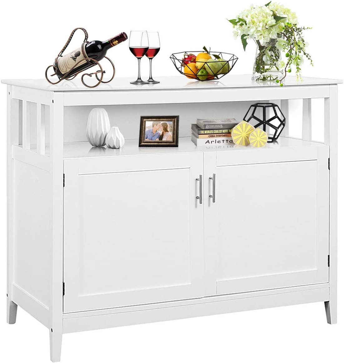 Costzon Kitchen Storage Sideboard Dining Buffet Server Cabinet Cupboard, Free Standing Storage Chest with 2 Level Cabinets and Open Shelf, Adjustable Middle Shelf for Home, Dining Room Modern White