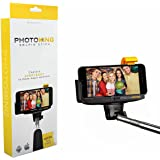 PhotoKing Extendable Selfie Stick with Wireless Bluetooth Remote for iPhone 6, 6 Plus, 5S, 5C, 5, 4S, 4.