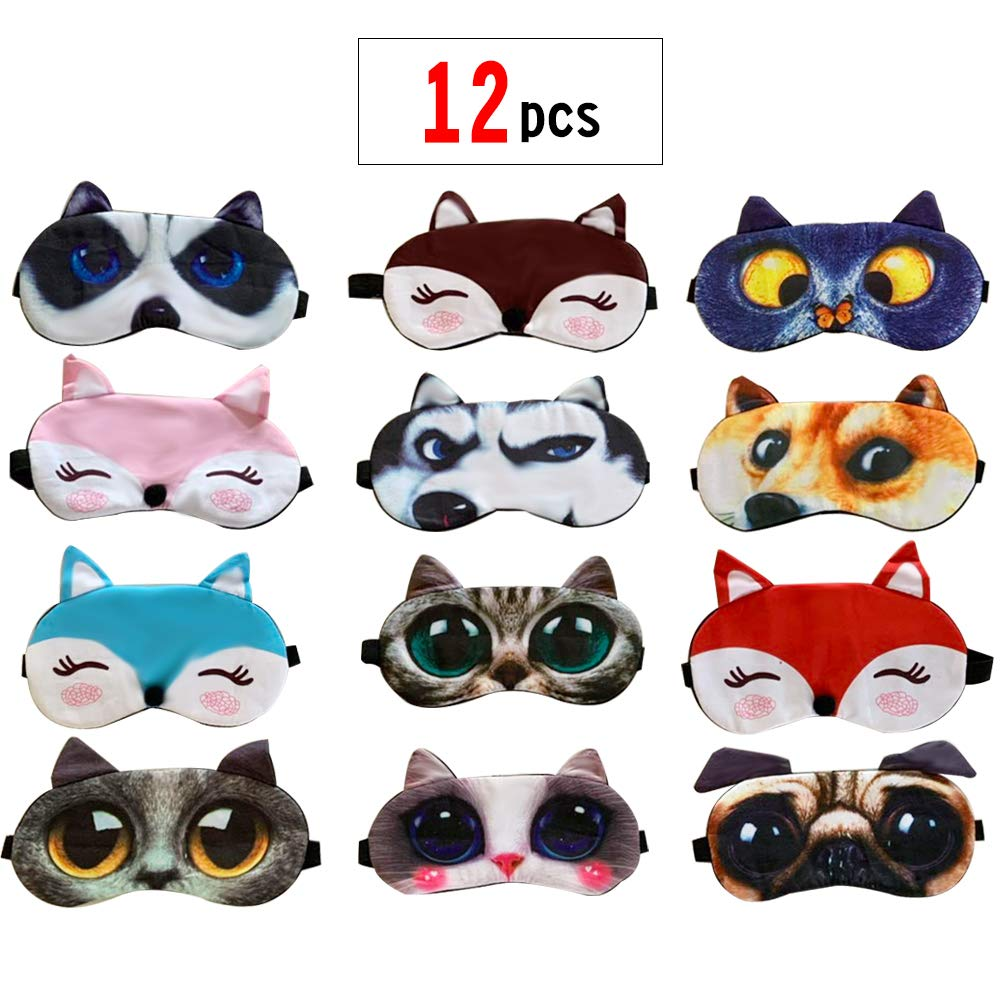 PINCHUANG 12Packs Animal Sleep Mask - Soft Funny Blindfolds Sleeping Mask, Cute Cat Dog Eye Cover for Kids Girls Men Women PlaneTravel Nap Night Sleeping by PINCHUANG