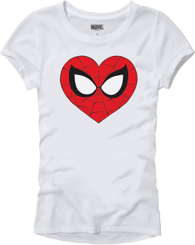 Marvel Spider-Man Face Mask Heart Logo Symbol Womens Juniors T-Shirt