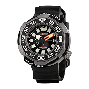 eecf62d2a07aa0 Image Unavailable. Image not available for. Color: Citizen Promaster Black  Dial Polyurethane Strap Men's Watch ...