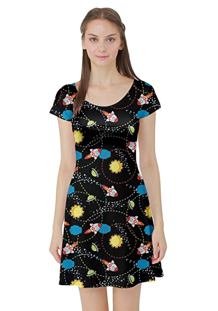 CowCow Womens Black Space With Cute Rocket Short Sleeve Dress, Black - XS
