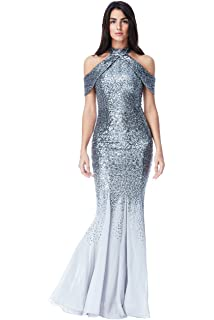 986629cc5c0a Goddiva Silver Sequin Chiffon Inserts Maxi Evening Long Dress Prom Party  Bridesmaid Ball