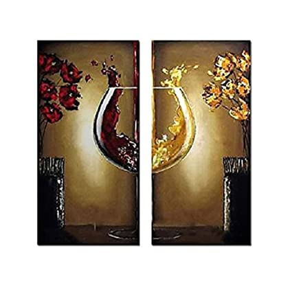 Galería de arte YEESAM® grandes botellas de vidrio y vino tinto hierba + + 100