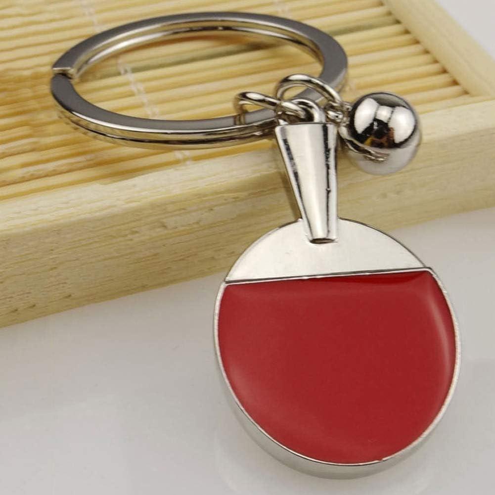 YSHtanj Llavero de decoración interior con llavero, diseño de pingpong y pala de ping pong, color plateado y rojo