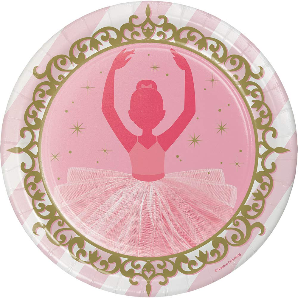 Club Pack of 96 Pink and Dazzling Gold Twinkle Toes Ballerina Dinner Plates 8.75''