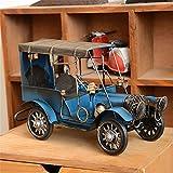 (US) Metal Vintage Blue Classic Car Model Wrought Iron Handicraft Old Car Model Tinplate Car Model