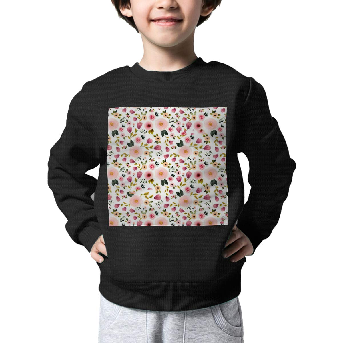 Warm/&Q90 Garden Flowers Pattern Printed Baby Boys Kids Crew Neck Sweater Long Sleeve Soft Knitted Sweatshirt