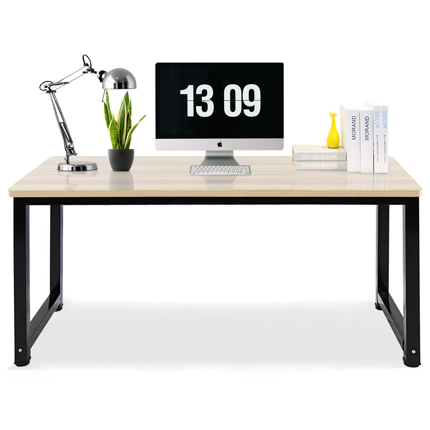 DL Furniture-Computer Desk Office Table 47''inches, Stable Metal Frame Wood Surface, Wood Work-Station Study Home Office Furniture - 47.3'' x 23.6'' x 29.2'' | White
