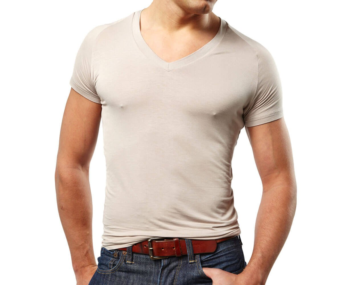 Mr. Davis Men's Bamboo Viscose Tailored Cut V Neck Undershirt, XXL, Tone, 6 Pack