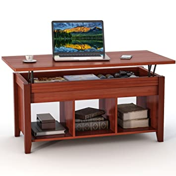 LITTLE TREE Lift Top Coffee Table With Hidden Storage Compartment And Lower  Shelf For Living Room