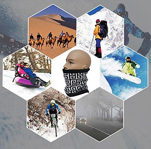 Easy Lifestyles 3 in 1 Function Unisex Polar Fleece Neck Warmers Snood Scarf Hat Ski Wear Snowboarding (Black & White)