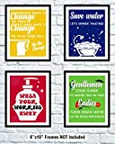 Amazon Price History for:Bathroom Quotes and Funny Wall Decorations | Set of Four Funny Art Prints 8x10 | Perfect Gift for Bathroom Decor by QuoteAcademy