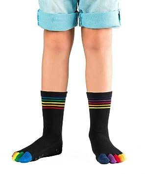 Knitido Kids Rainbow Moods - calcetines de dedos en algodón para niñas y niños con estrellas antideslizantes (ABS): Amazon.es: Deportes y aire libre