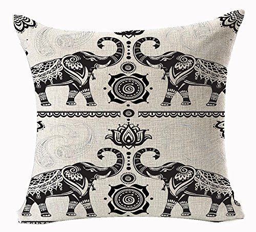Lotus Cushion Cover - Funny Lovely Animals Abstract Adorable Bohemian Ethnic Style Lotus Elephant Couple Cotton Linen Throw Pillow Case Personalized Cushion Cover NEW Home Office Indoor Decorative Square 18 X 18 Inches