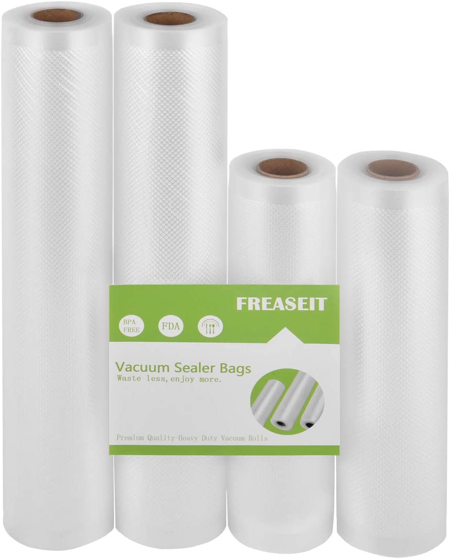 FREASEIT Food Vacuum Sealer Bag Rolls for Food, BPA Free Heavy Duty Plastic Sealer Vacuum Packing Bags for Food Saver 4 pack( 8