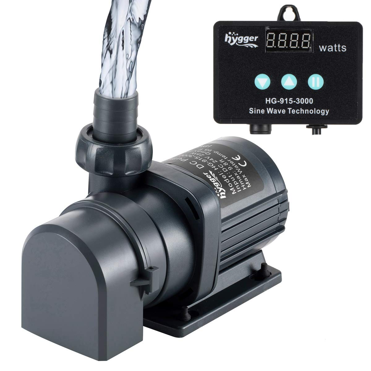 Hygger 800GPH Quiet Submersible and External 24V Water Pump, with Controller (30%-100% Settings), Powerful Return Pump for Fish Tanks, Aquariums, Ponds, Fountains, Sump, Hydroponics (25W, 9.8ft) by Hygger