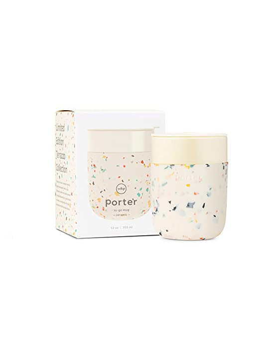 W&P Porter Ceramic Mug w/ Protective Silicone Sleeve, Terrazzo Cream 12 Ounces | On-the-Go | Reusable Cup for Coffee or Tea | Portable | Dishwasher Safe