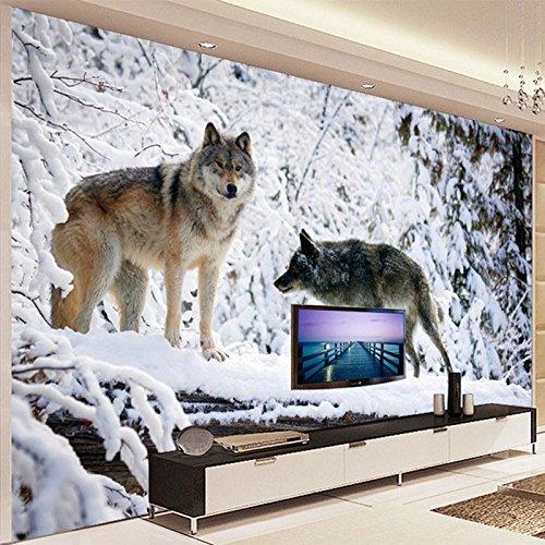 400cmX280cm 3D Wallpaper Modern Simple Animal Wolf Snow Landscape Photo Mural Living Room TV Sofa Backdrop Wall Painting,F