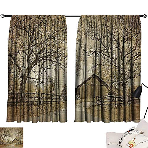 American Farmhouse Collection Bedroom - Anzhutwelve Blackout Draperies for Baby Bedroom Farmhouse Decor Collection,American Countryside Village Monochromic Historic Vintage Scenery Picture Print,Olive Ivory Sep W63 x L45 Wear Curtain