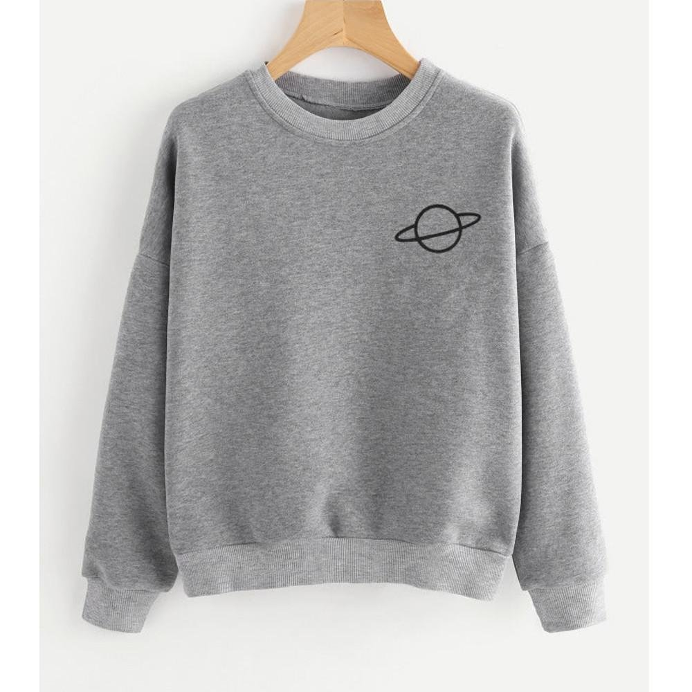 KaiCran Fashion Lady Blouse Women Casual Sweatshirt Plus Size Long Sleeve Top O-Neck Pullover Blouse (Large, Grey)