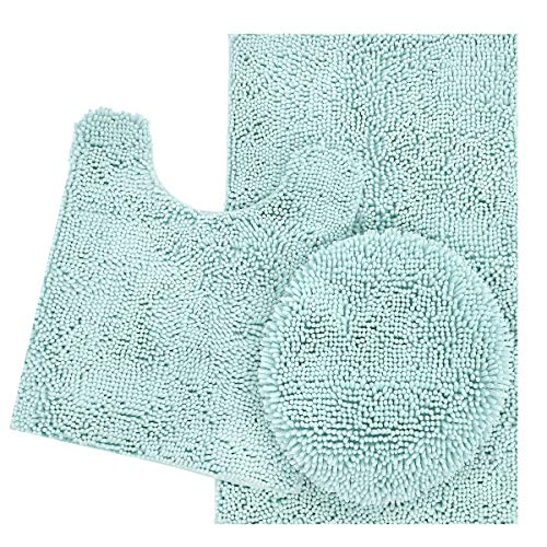 Spa Blue Rug - ITSOFT 3pc Non-Slip Shaggy Chenille Bathroom Mat Set, Includes U-Shaped Contour Toilet Mat, Bath Mat and Toilet Lid Cover, Machine Washable, Spa Blue