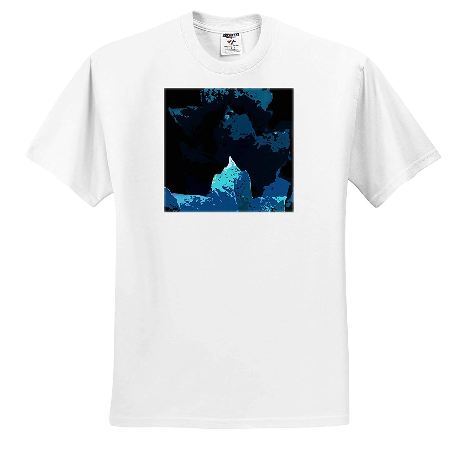 Photograph of Maple Leaves with an Abstract Effect in Blue hues 3dRose Stamp City - T-Shirts Abstract
