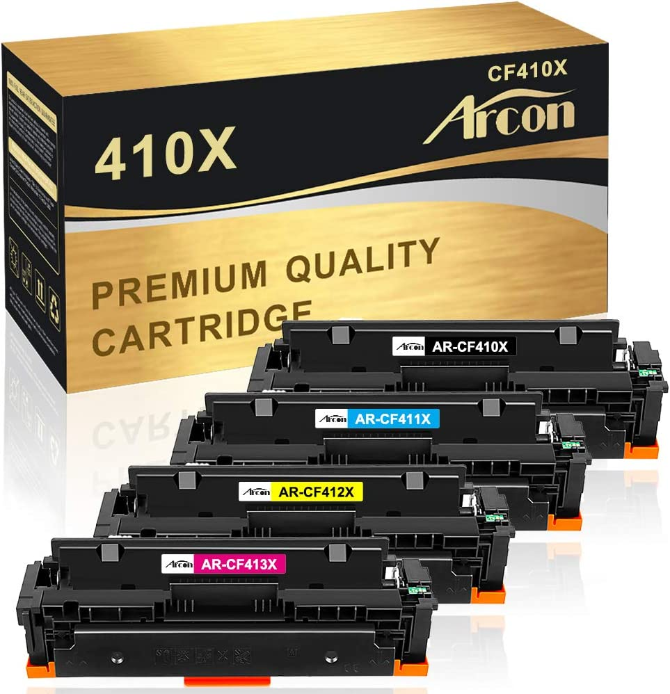 rcon Compatible Toner Cartridge Replacement for HP 410X CF410X CF411X CF412X CF413X 410A CF410A M477fdw HP Laserjet Pro MFP M477fdw M477fnw M477fdn M477 Pro M452dn M452dw M452nw M477 Printer (4-Pack)