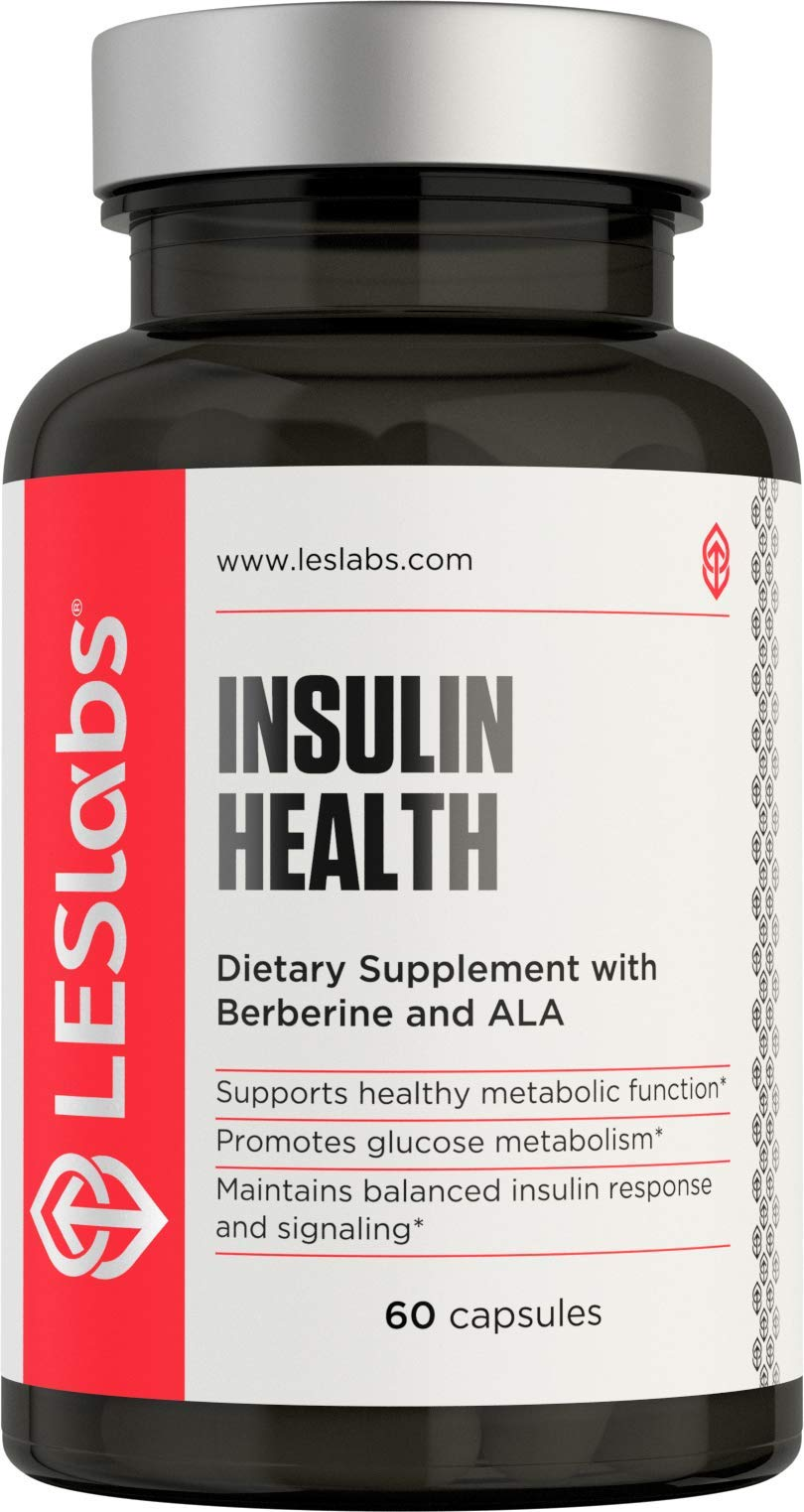 LES Labs Insulin Health, Natural Supplement for Metabolic Support, Blood Sugar & Weight Management, 60 Capsules