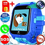 GBD IP67 Waterproof Kids Smart Watch Phone for Boys Girls with FREE SIM Card GPS Tracker SOS Camera Pedometer Travel Summer Vacation Sport Fitness Travel Camping Wrist Watch Birthday Gifts (Blue)