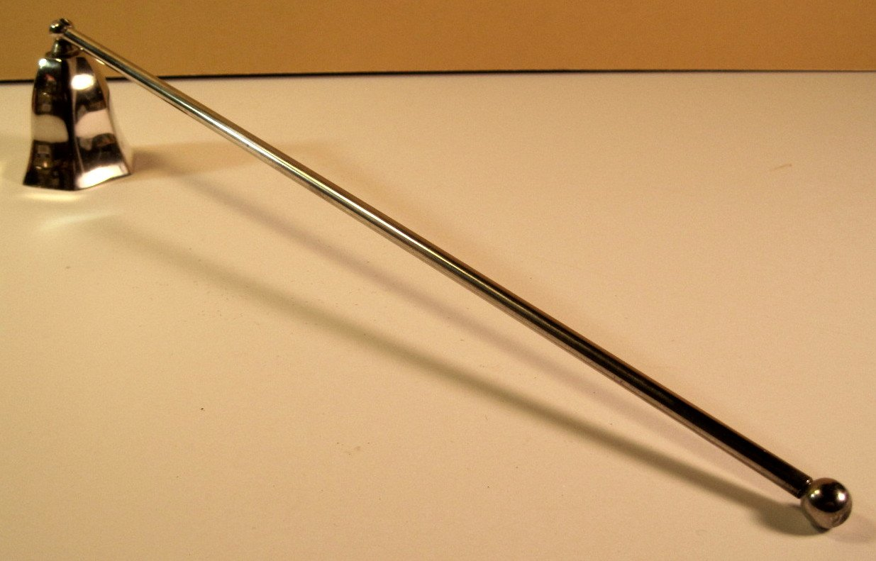 Candle Snuffer, Silver-Plated, Vintage, Hinged, 12 Inch Handle