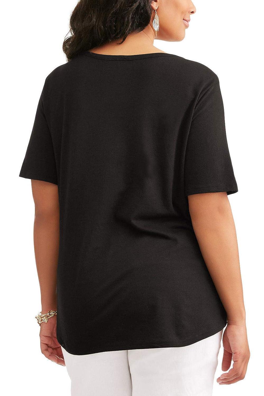 3c739257b5c Terra   Sky Women s Plus Size Black Soot Notch Split Neck Tee - 2X at  Amazon Women s Clothing store