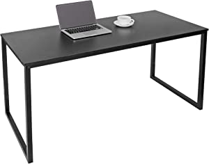 SUPER DEAL Computer Desk 55 Inch Modern Sturdy Office Desk PC Laptop Notebook Simple Writing Table for Home Office Workstation, Black