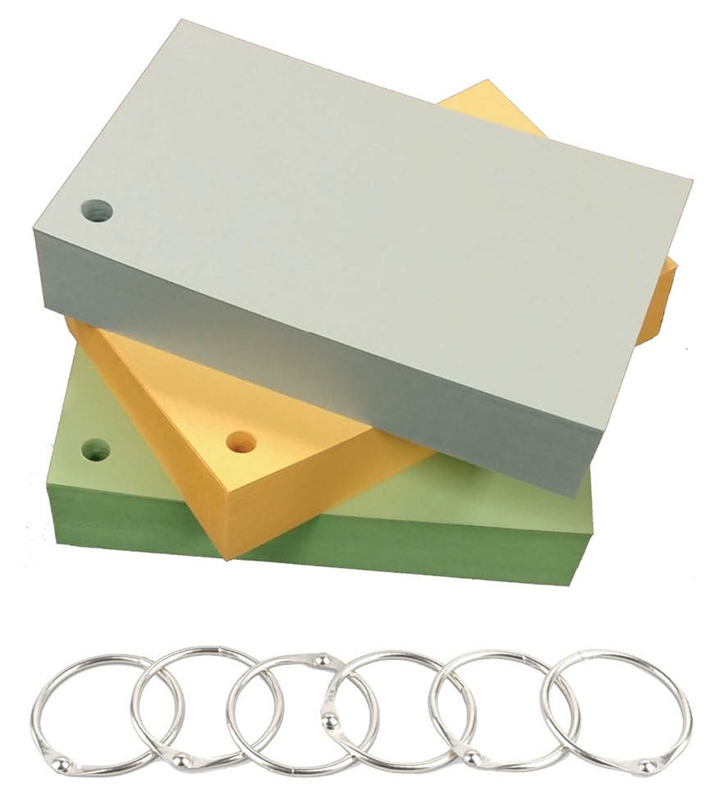 Debra Dale Designs 3'' X 5'' Standard 110# Ringed Index Cards - 300 Cards - Single Hole Punched - Includes Six Metal Binder Rings - Three Pastel Colors - Blue, Green, Buff - Packaged 100 Of Each Color
