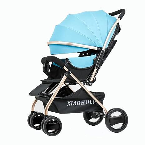 YXINY Carritos y sillas de paseo Alto Paisaje Cochecitos Puede Sentarse Reclinable Bidireccional Portátil Neonatal Carretilla