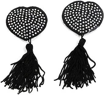 Reusable Rhinestone Silicone Pasties Bra Sexy Breast Petals with Tassel