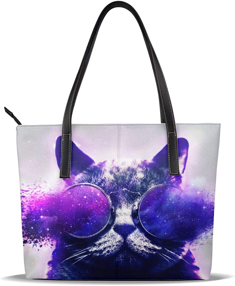 Galaxy Cat Sunglass Handbags For Women Fashion Ladies PU Leather Top Handle Satchel Shoulder Tote Bags-Large Capacity