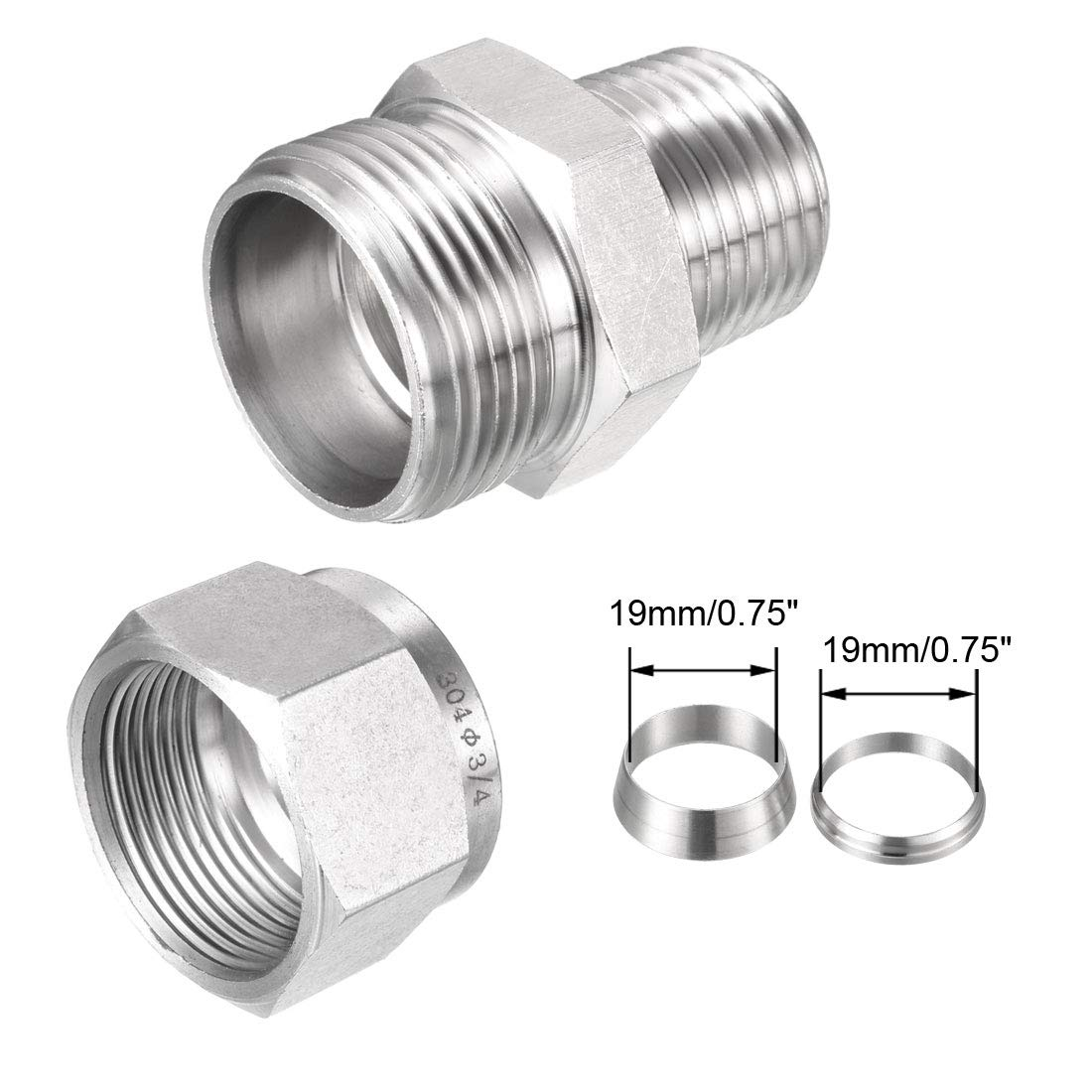 1//2 NPT Male x Ф1//2 Tube OD with Double Ferrules 3pcs Connector Adapter uxcell Compression Tube Fitting