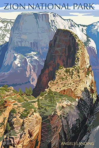 Zion National Park Usa Framed (Zion National Park - Angels Landing (16x24 Giclee Gallery Print, Wall Decor Travel Poster))