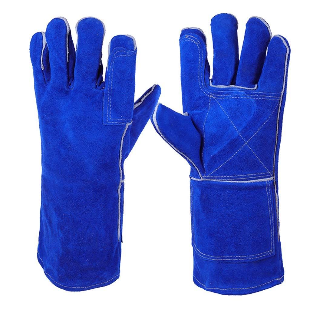 LDKFJH Fireplace Gloves High Temperature BBQ Stove Longline Welders Gloves Heat Resistant Proof Working Gloves for Yard Work, Gardening, Farm(Blue 340mm)