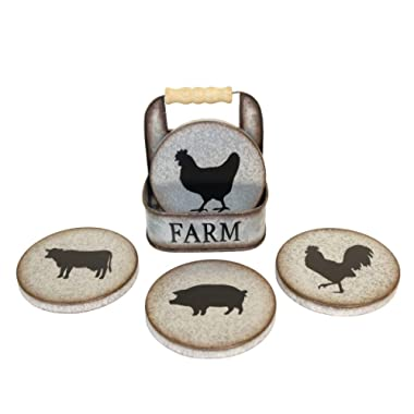 Galvanized Metal Farm Animal Coaster Set